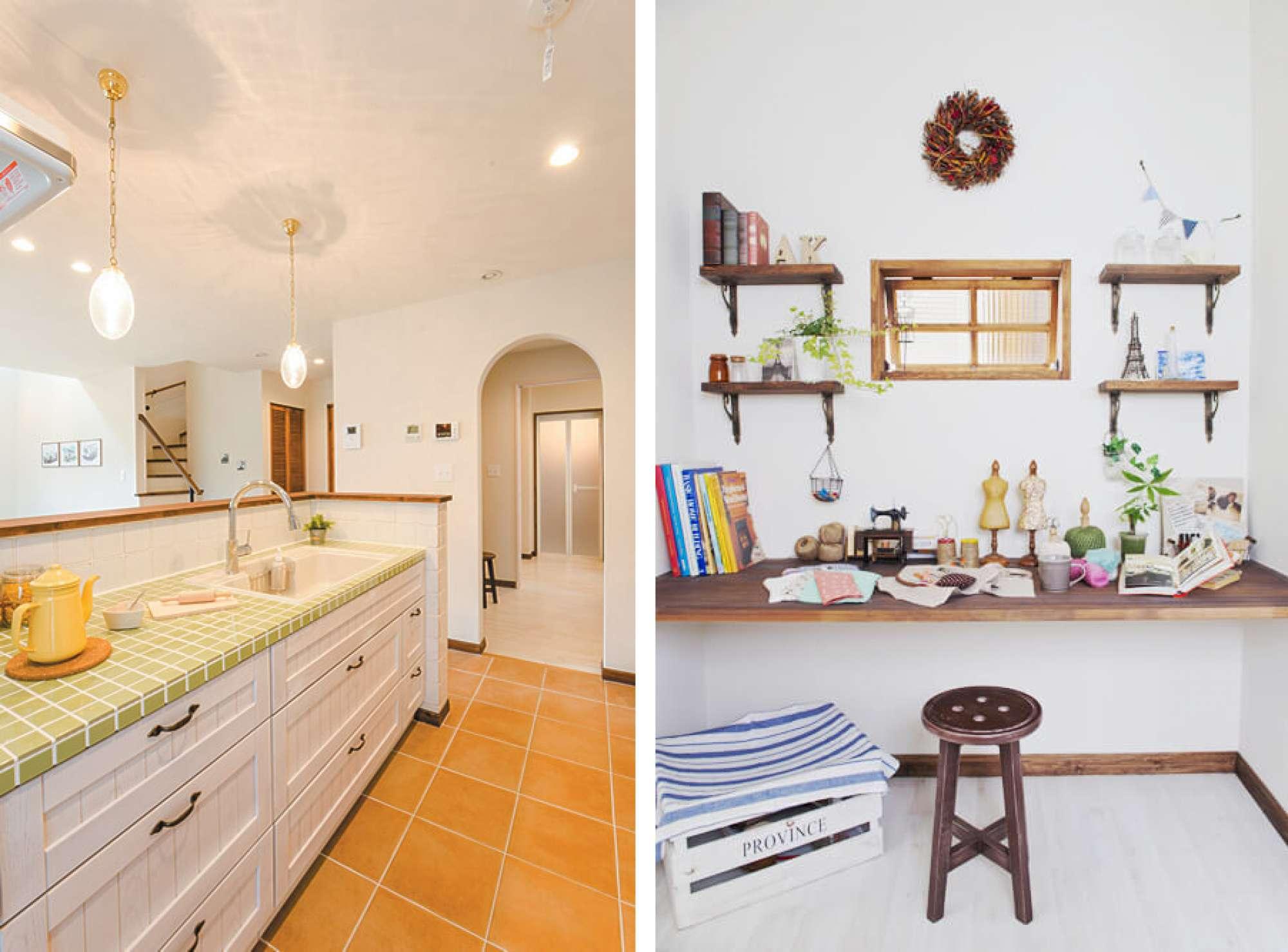 - タイル素材の木のキッチンや、Rの入り口など、南フランスのデザインテイストを取り入れた内装。趣味や楽しめる家事スペースも。 -  -