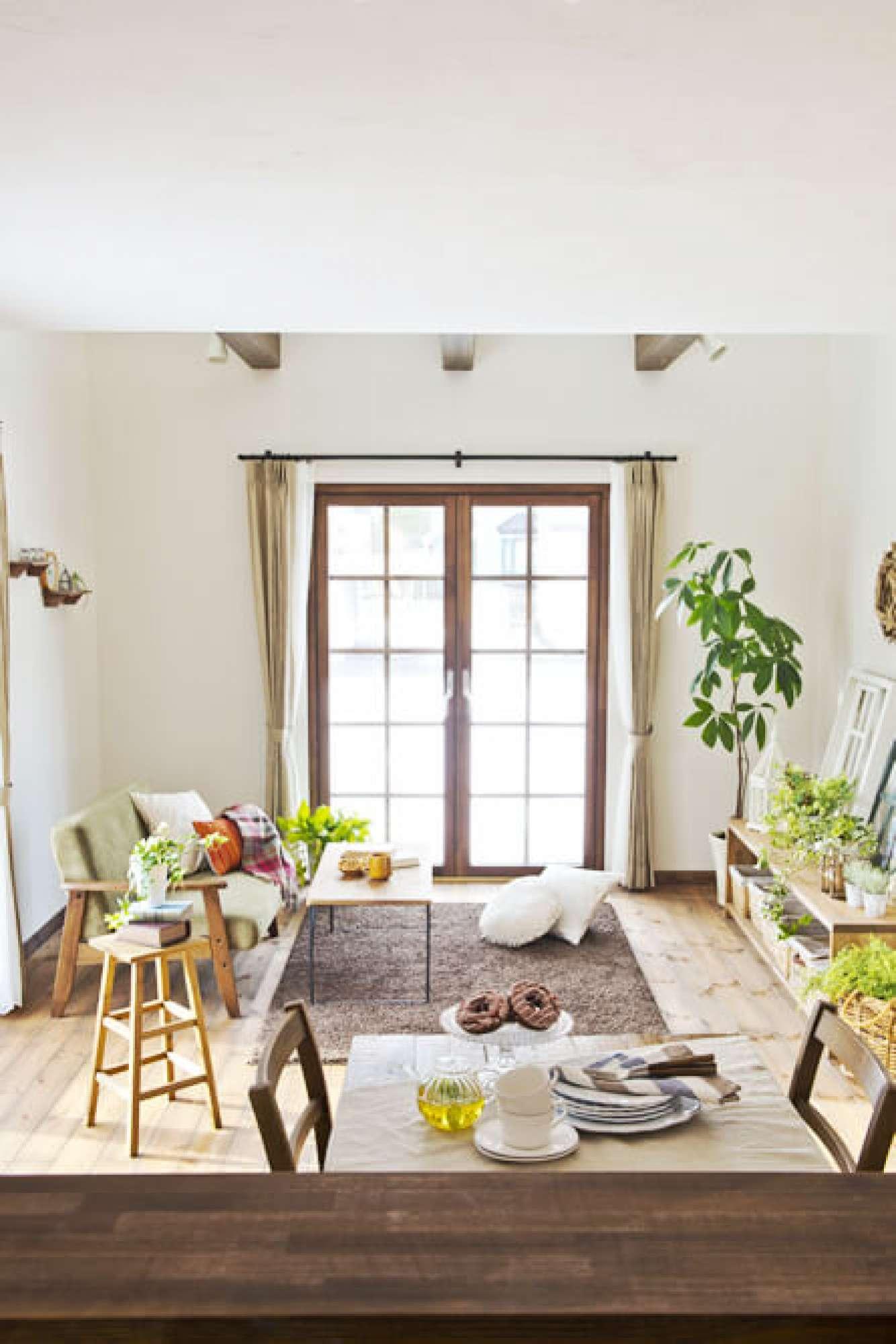 - 格子窓がアクセントのリビング。木の温もりのフロアには、グリーンや花の植物もよく映えます。 -  -